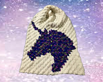 Unicorn Scarf, C2C Crochet Pattern, Written Row Counts, C2C Graphs, Corner to Corner, Crochet Pattern, C2C Graph