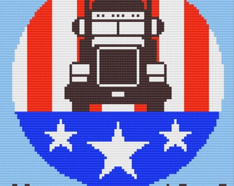 Trucker Essential Afghan, C2C Crochet Pattern, Written Row by Row, Color Counts, Instant Download, C2C Graph, C2C Pattern, Graphgan Pattern