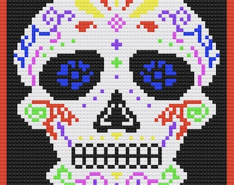 Sugar Skull Afghan, In color, C2C Crochet Pattern, Written Row by Row, Color Counts, Instant Download, C2C Graph, C2C Pattern, C2C Graphgan