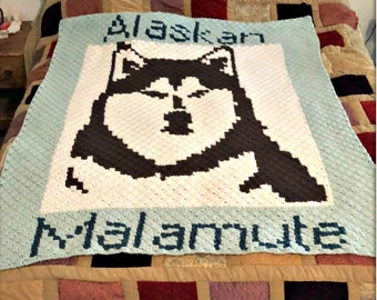 Alaskan Malamute Afghan C2C Crochet Pattern, Written Row by Row Counts, C2C Graphs, Corner to Corner Crochet Pattern, Graphgan Dog C2C Graph