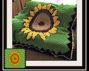 C2C Graph, Sunflower Afghan C2C Graph and Word Chart