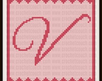 Letter V Baby Afghan, C2C Crochet Pattern, Written Row Counts, C2C Graphs, Corner to Corner, Crochet Pattern, C2C Graph