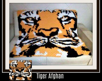 Tiger Afghan, C2C Crochet Pattern, Written Row Counts, C2C Graphs, Corner to Corner, Crochet Pattern, C2C Graph
