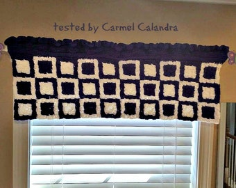 Retro Square Valance, C2C Crochet Pattern, Written Row Counts, C2C Graphs, Corner to Corner Crochet Pattern, C2C Graph