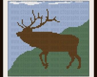 Elk Afghan, C2C Crochet Pattern, Written Row Counts, C2C Graphs, Corner to Corner, Crochet Pattern, C2C Graph