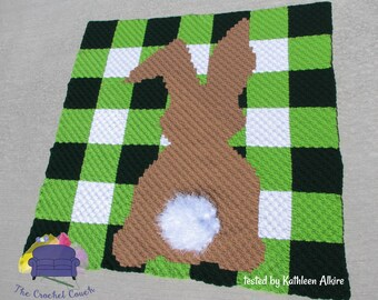 Bunny Gingham Afghan, C2C Crochet Pattern, Written Row by Row, Color Counts, Instant Download, C2C Graph, C2C Pattern, C2C Crochet, Graphgan