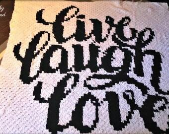Live Laugh Love Afghan C2C Crochet Pattern, Written Row Counts, C2C Graphs, Corner to Corner Crochet Pattern, Graphgan, Inspirational C2C