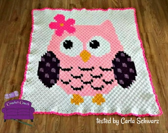 Mrs Owl Kids Afghan, C2C Crochet Pattern, Written Row by Row, Color Counts, Instant Download, C2C Graph, C2C Pattern, Graphgan Pattern