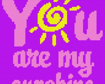 You are my Sunshine 2 Afghan, C2C Crochet Pattern, Written Row Counts, C2C Graphs, Corner to Corner, Crochet Pattern, C2C Graph