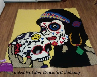 Sugar Skull Pin Up Afghan C2C Crochet Pattern, Written Row Counts, C2C Graphs, Corner to Corner Crochet Pattern, Graphgan, Sugar Skull C2C