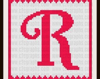 Letter R Kids Afghan, C2C Crochet Pattern, Written Row Counts, C2C Graphs, Corner to Corner, Crochet Pattern, C2C Graph