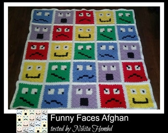 Funny Faces Afghan, C2C Crochet Pattern, Written Row Counts, C2C Graphs, Corner to Corner Crochet Pattern, C2C Graph