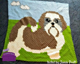 Shih Tzu, Afghan, C2C Crochet Pattern, Written Row by Row, Color Counts, Instant Download, C2C Graph, C2C Pattern, Graphgan