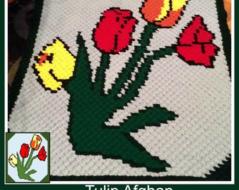 Tulip Afghan, C2C Graph, Crochet Pattern