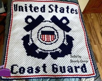 Coast Guard Afghan, C2C Crochet Pattern, Written Row Counts, C2C Graphs, Corner to Corner, Crochet Pattern, C2C Graph