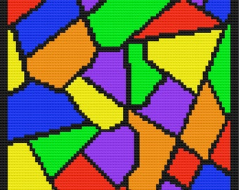 Stained Glass Afghan, C2C Crochet Pattern, Written Row by Row, Color Counts, Instant Download, C2C Graph, C2C Pattern, Graphgan Pattern
