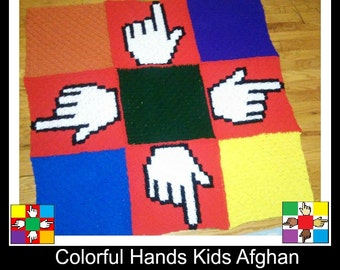 C2C Graph, Colorful Hands, Kids Afghan, C2C Crochet, Graph, and Written Word Chart