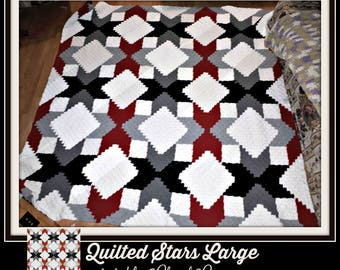 Quilted Stars C2C Graph, Quilted Stars Large, Quilted Stars Afghan, Quilted Stars Crochet Pattern