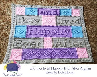 and they lived Happily Ever After Afghan, Bobble Stitch Crochet Pattern, Written Row by Row, Color Counts, Instant Download, Graphgan