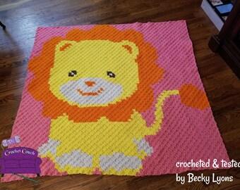 Lion Kids Blanket, C2C Crochet Pattern, Written Row Counts, C2C Graphs, Corner to Corner, Crochet Pattern, C2C Graph