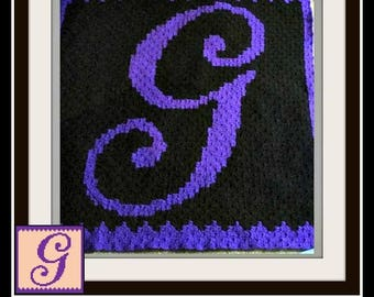 Letter G Kids Afghan, C2C Crochet Pattern, Written Row Counts, C2C Graphs, Corner to Corner, Crochet Pattern, C2C Graph