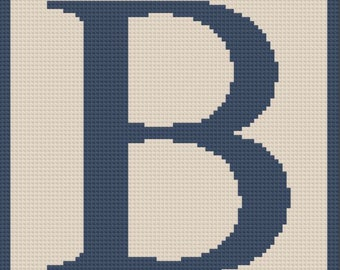 Letter B Twin Afghan, C2C Crochet Pattern, Written Row Counts, C2C Graphs, Corner to Corner, Crochet Pattern, C2C Graph