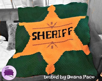 Sheriff Department Badge Afghan, C2C Crochet Pattern, Written Row Counts, C2C Graphs, Corner to Corner, Crochet Pattern, C2C Graph