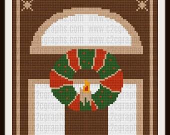 Christmas Wreath Door  Afghan, C2C Graph, Written Row by Row Word Chart