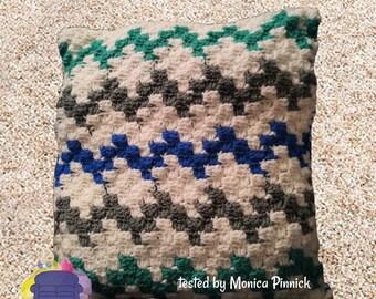 Chevron Pillow, C2C Crochet Pattern, Written Row by Row, Color Counts, Instant Download, C2C Graph, C2C Pattern, Crochet Pillow