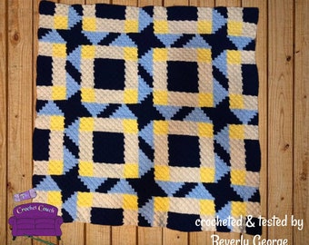 Kori Quilt Afghan, C2C Crochet Pattern, Written Row by Row, Color Counts, Instant Download, C2C Graph, C2C Pattern, Graphgan Pattern