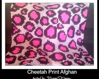 Cheetah Print Afghan, C2C Crochet Pattern, Written Row Counts, C2C Graphs, Corner to Corner Crochet Pattern, C2C Graph