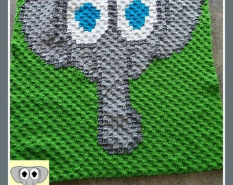 Elephant Baby Afghan, C2C Crochet Pattern, Written Row Counts, C2C Graphs, Corner to Corner, Crochet Pattern, C2C Graph