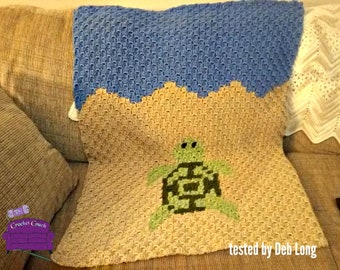 Turtle Baby Blanket, C2C Crochet Pattern, Written Row Counts, C2C Graphs, Corner to Corner, Crochet Pattern, C2C Graph