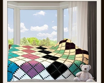 Argyle Afghan C2C Crochet Pattern, Written Row by Row Counts, C2C Graphs, Corner to Corner Crochet Pattern, graphgan, Argyle Blanket