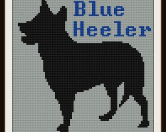 Australian Blue Heeler Silhouette Blanket, C2C Crochet Pattern, Written Row Counts, C2C Graphs, Corner to Corner, Crochet Pattern, C2C Graph