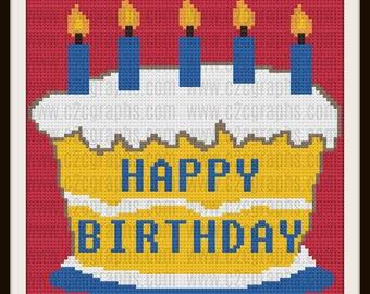 Happy Birthday Afghan, C2C Crochet Pattern, Written Row Counts, C2C Graphs, Corner to Corner, Crochet Pattern, C2C Graph