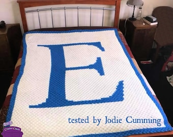 Letter E Twin Size, C2C Crochet Pattern, Written Row Counts, C2C Graphs, Corner to Corner, Crochet Pattern, C2C Graph
