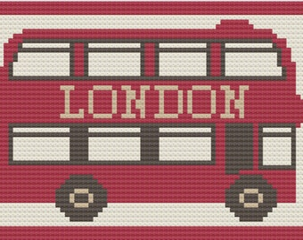 London Bus Afghan, C2C Crochet Pattern, Written Row by Row, Color Counts, Instant Download, C2C Graph, C2C Pattern, C2C Graphgan Pattern