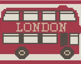 London Bus Afghan, C2C Crochet Pattern, Written Row by Row, Color Counts, Instant Download, C2C Graph, C2C Pattern, C2C Graphgan Pattern