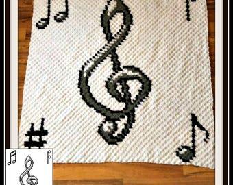 Musical Afghan, C2C Crochet Pattern, Written Row Counts, C2C Graphs, Corner to Corner, Crochet Pattern, C2C Graph