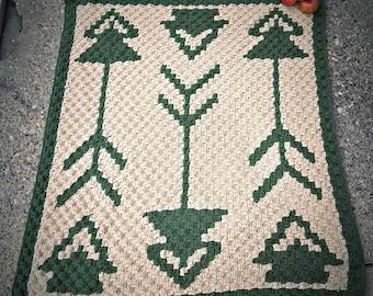 Tribal Baby Afghan C2C Crochet Pattern, Written Row by Row Counts, C2C Graphs, Corner to Corner Crochet Pattern, Graphgan, Tribal C2C Graph