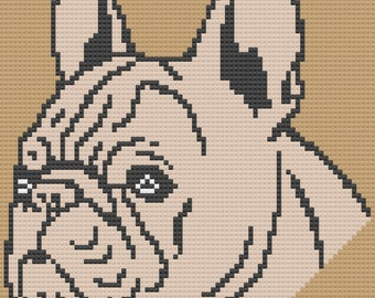 French Bulldog Afghan, C2C Crochet Pattern, Written Row by Row, Color Counts, Instant Download, C2C Graph, C2C Pattern