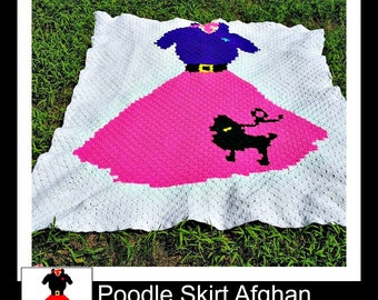 Poodle Skirt Afghan, C2C Crochet Pattern, Written Row Counts, C2C Graphs, Corner to Corner, Crochet Pattern, C2C Graph