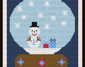 Snowman Snow Globe Kids Afghan, C2C Crochet Pattern, Written Row Counts, C2C Graphs, Corner to Corner, Crochet Pattern, C2C Graph