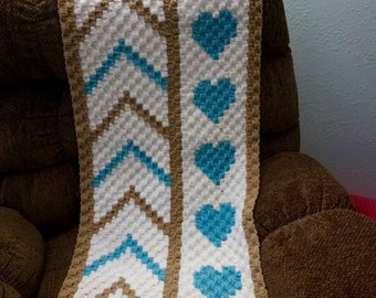 Chevron Hearts Afghan, C2C Crochet Pattern, Written Row Counts, C2C Graphs, Corner to Corner, Crochet Pattern, C2C Graph