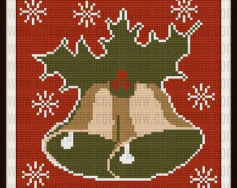 Christmas Bells Afghan, Christmas Bells C2C Graph, Corner to Corner Crochet, Crochet Pattern,  Row by Row Word Chart