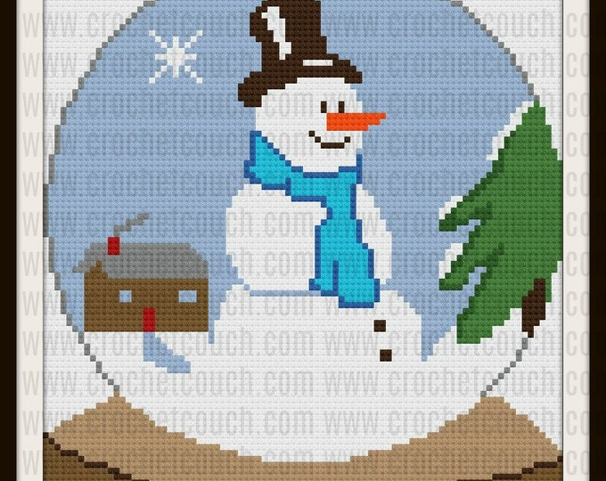 Featured listing image: Snowman Snow Globe Adult Afghan, C2C Crochet Pattern, Written Row Counts, C2C Graphs, Corner to Corner, Crochet Pattern, C2C Graph