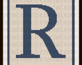 Letter R TWIN Afghan, C2C Graph, Written Word Chart