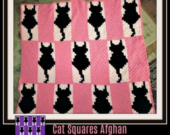 Cat Squares Afghan, C2C Graph, Crochet Pattern