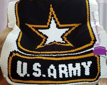 Army Afghan, C2C Crochet Pattern, Written Row by Row, Color Counts, Instant Download, C2C Graph, C2C Pattern, Graphgan Pattern